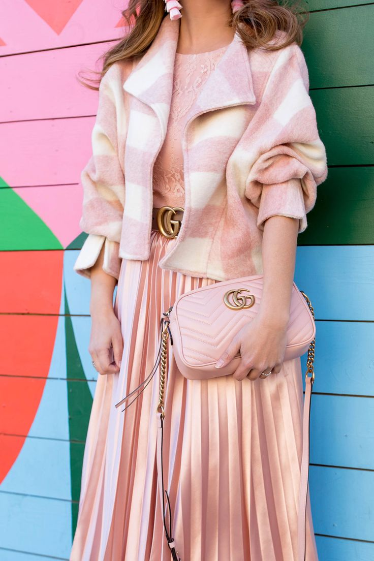 Pink Buffalo Check Crop Jacket and Satin Pleated Dress