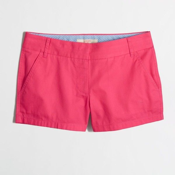 """J.Crew Factory 3"""" chino short ($20) ❤ liked on Polyvore featuring shorts, bottoms, zipper shorts, j.crew, short shorts, chino shorts and j. crew shorts"""