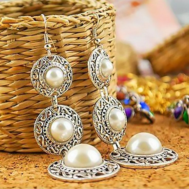 Fashion 1 Pair Elegant Women Lady Ethnic Style 3 Circle Tassel White Simulated Pearl Dangle Earrings