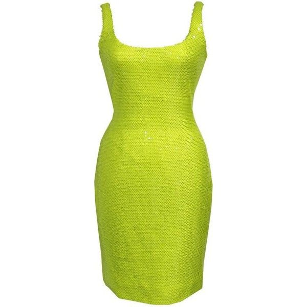 Preowned Stephen Sprouse Bombshell Bodycon Sequinned Neon Yellow... ($3,534) ❤ liked on Polyvore featuring dresses, yellow, 80s dress, yellow sequin dress, sequin dresses, low back bodycon dress and yellow dress