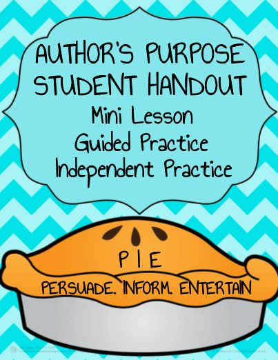 Author's Purpose Activities: Author's Purpose Freebie Printable. No prep, print, project and go. Mini Lesson (I do): Introduce three types of author's purpose (Persuade, Inform, Entertain). Guided Practice (We Do): As a class, practice identifying author's purpose. Independent Practice (You Do): Use two remaining pages for students to independently practice identifying author's purpose. Reference Poster: Enjoy the PIE classroom poster to help students remember the Persuade, Inform, Entertain