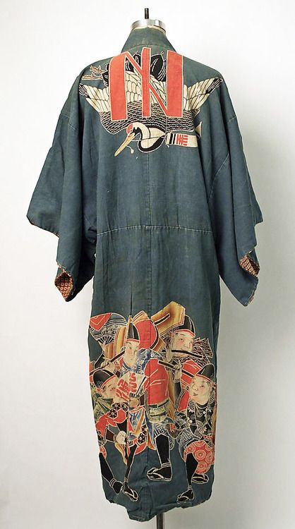 Cotton maiwai kimono worn at fishing celebrations. Second quarter 20th century, Japan