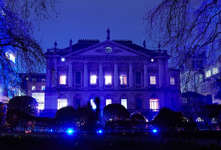 The west front of Spencer House lit for an evening reception, London 2015.