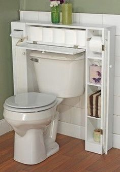 Buying or building a shelving unit that can slide in and fit around the toilet is a great use of space. This bathroom hack is perfect for renters because it can slide in and out without damaging the wall.
