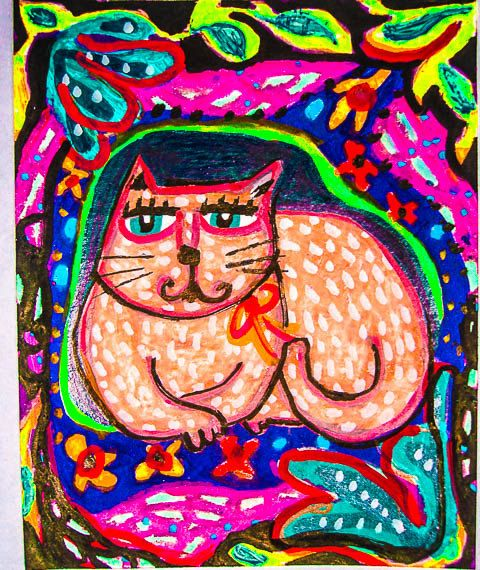 Whimsical Cat Print Cat Art Girl's Room Decor by AGirlAnOwlAndACat