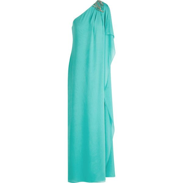 Badgley Mischka One-shoulder embellished silk-crepe gown (33.115 RUB) ❤ liked on Polyvore featuring dresses, gowns, long dress, robes, turquoise, one shoulder gown, long beaded dress, petite long evening dresses, beaded evening gowns and petite evening dresses