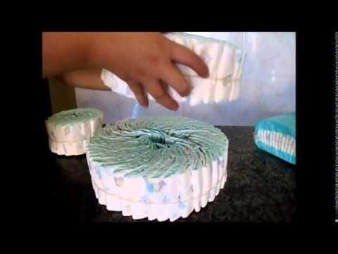 Preparativos do chá de fraldas do Renê - Bolo de Fraldas - YouTube
