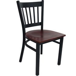 Restaurant Chairs - Black Metal Vertical Slat Back Restaurant Chair for sale from Classroom Essentials Online