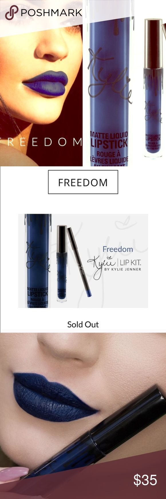 Kylie Jenner Freedom limited edition lip kit Only used to swatch. Limited edition for the 4th of July this year, sold out on site. Purchase would include the liner, gloss, and the small individual box. I'm using it to hold my other Kylie kits rn, but I'd sell the large shipping box as well for $5 extra if anyone was interested. Would make a cute Christmas gift  Kylie Cosmetics Makeup