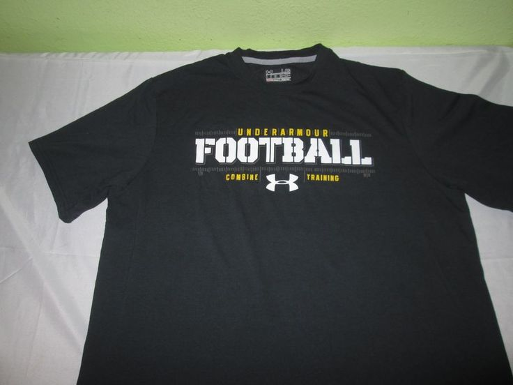 UNDER ARMOUT HEATGEAR Football Performace Apparel T Shirt Size L Large - Black #UnderArmour #GraphicTee