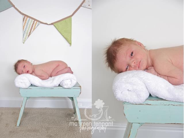 Newborn photography prop rentals blue stool from finch vintage rentals in st louis