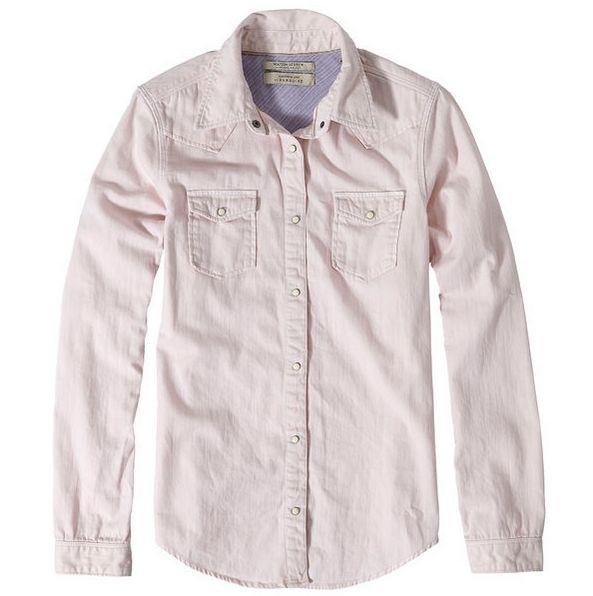 Maison Scotch Classic Western Shirt in Flamingo Pink - bluebird boutique