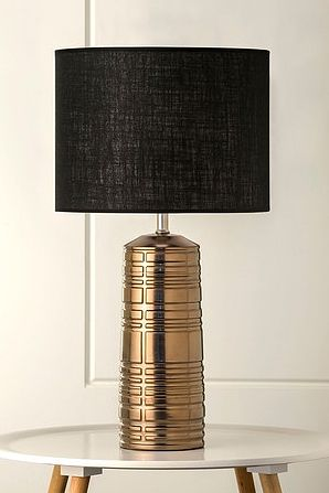 The Gizmo Table lamp... a striking textural geometric copper lamp complete with Australian made drum shade. Perfect for modern, industrial or country style decors $169 including shade www.homeaboutstyle.com.au lamps @home_about_style #interiordesign #homedecor #tablelamps #lamps #copper lights #australianmade #geometric #homelighting #stylish #luxury #homeaccessories #beautifulhomes #gizmo #mayfieldlamps #pickoftheday #homeaboutstyle