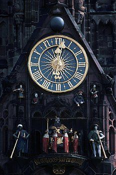 Clock Hourglass Time:  Decoative #clock on Frauenkirche Church, in Nuremberg, Germany.