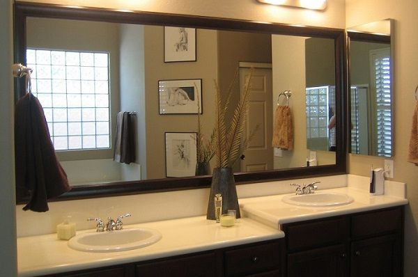 Install Large Bathroom Mirrors In Your Privy Brown Bathroom