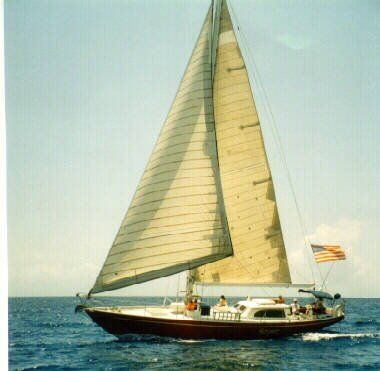 "Beautiful sailing photo of the Columbia 50, a yacht design similar to E.G. van de Stadts' ""Glass Slipper."" Both yachts were favorites of actor Phil Rosen who appeared in the 20th Century Fox Film, Secret of the Purple Reef."