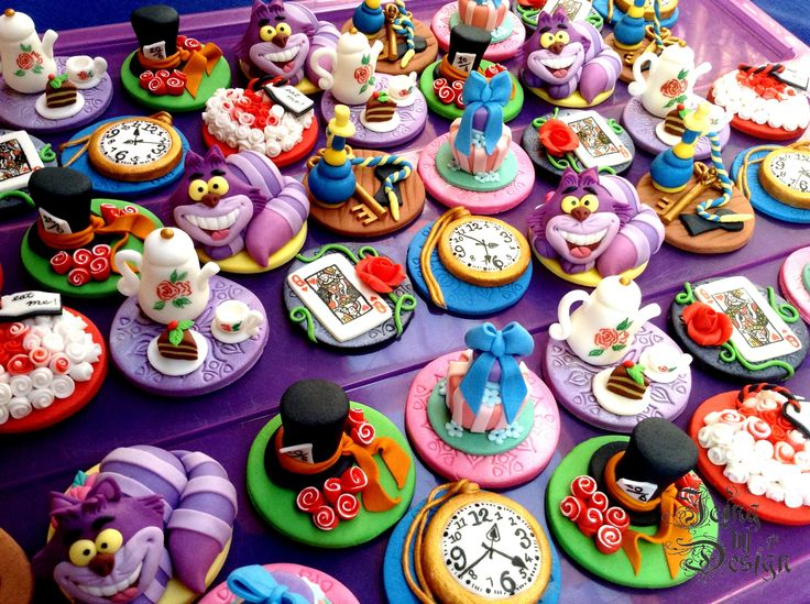 Alice in Wonderland Mad Hatter theme cupcake toppers