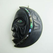 Woman in the Moon Argillite Pendant by Darrell White