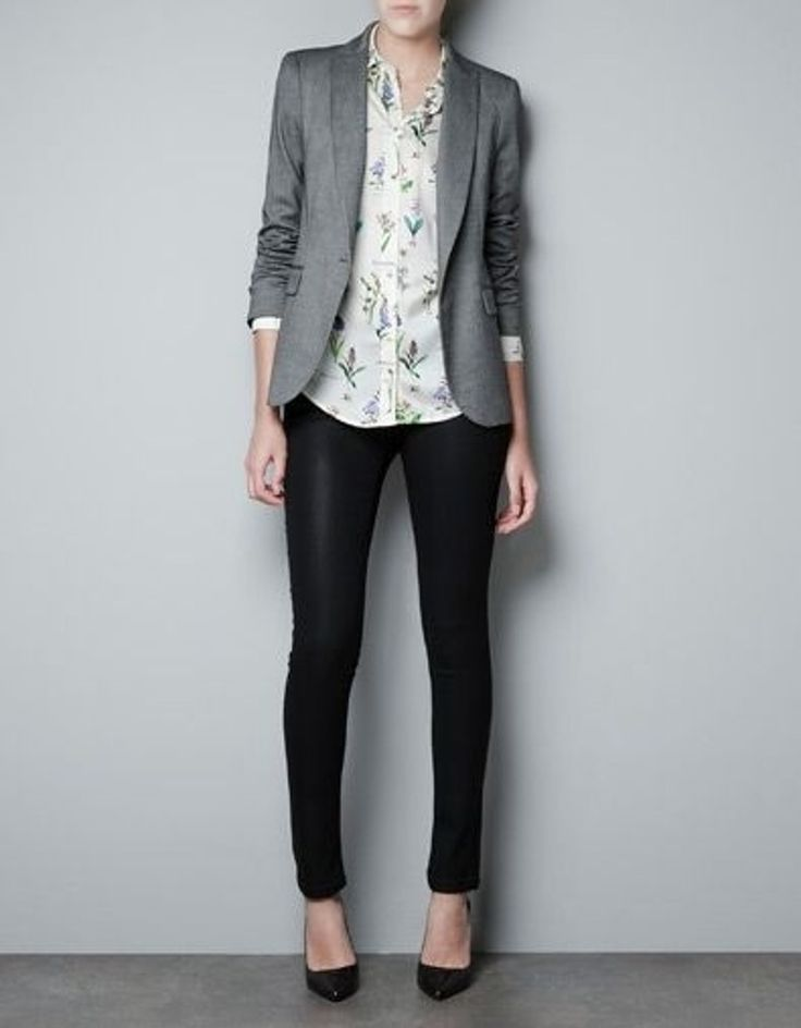 Patterned shirt underneath a structured blazer, add dress pants  and heels