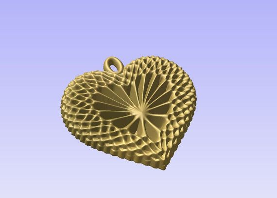 Heart pendant STL 3D model for cnc carving vectric by Digital2Cre8