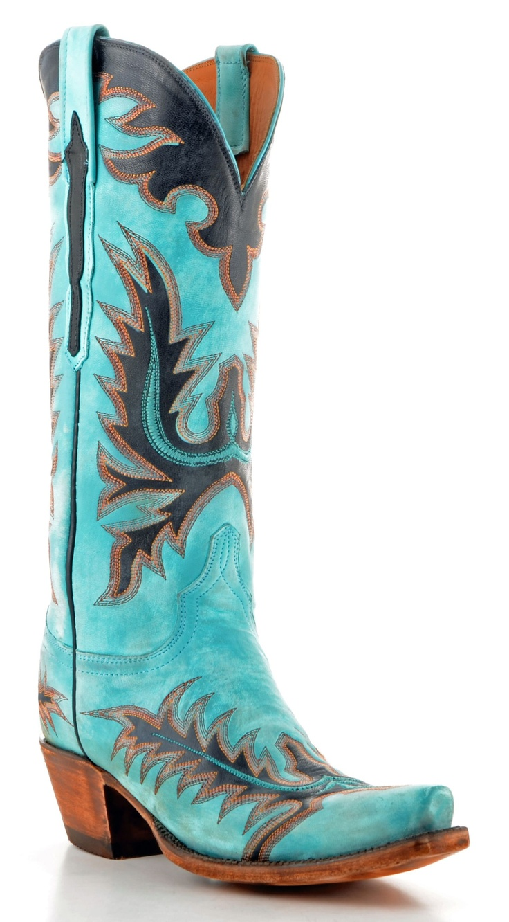 Womens Lucchese Classics Goat Boots Destroyed Emerald Blue