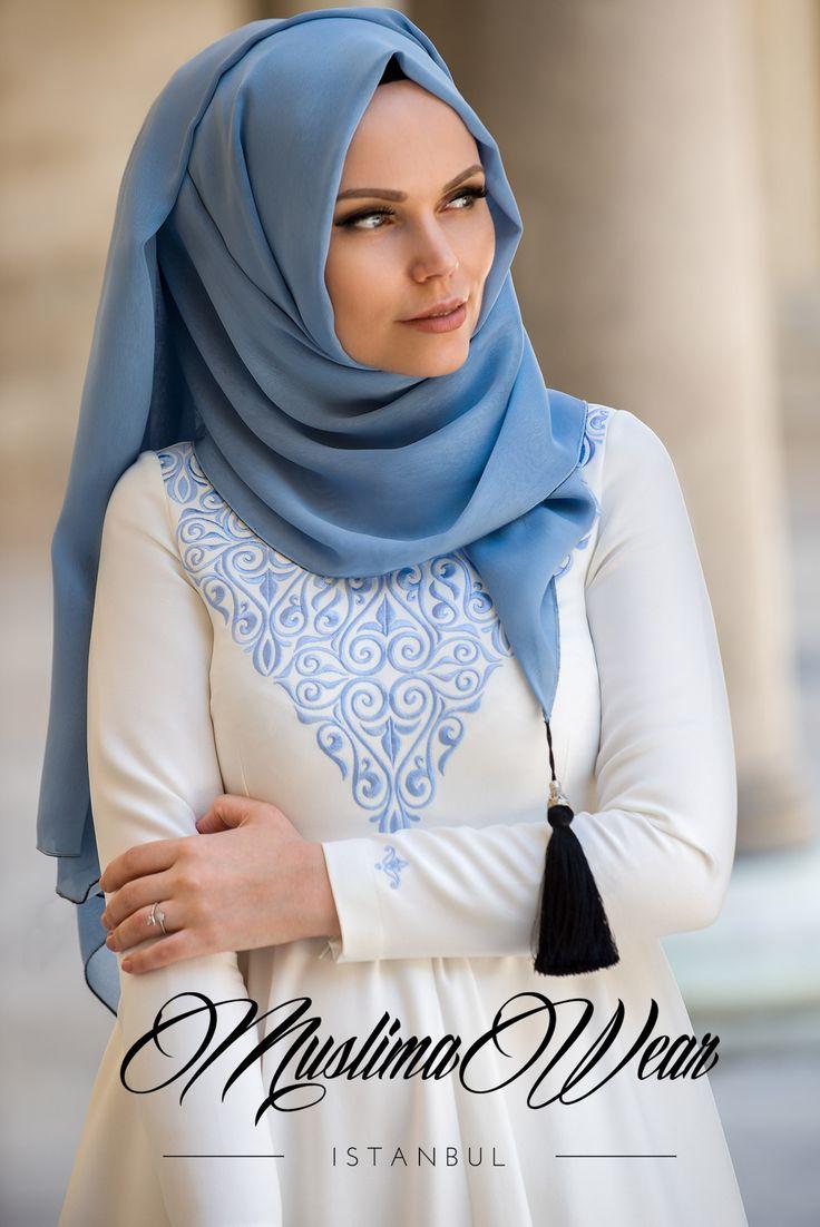 Muslima Wear Chiffon Scarf hijab Mist Blue Color