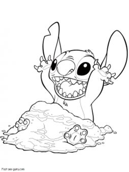 Print out Disney Stitch characters coloring page - Printable Coloring Pages For Kids