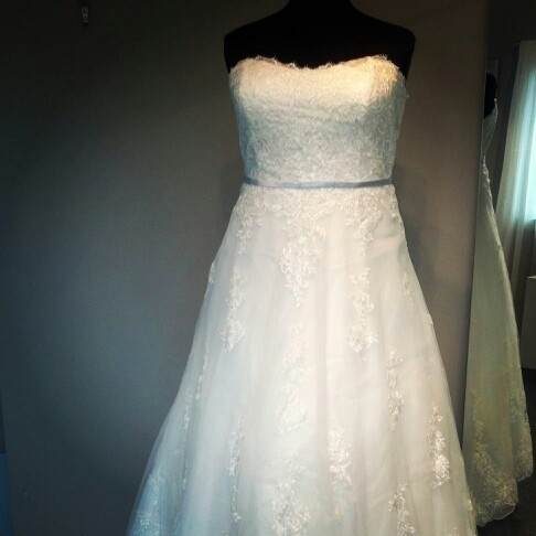 New Arrival Lace With Pale Blue Sash At Koda Bridal Wedding Dress