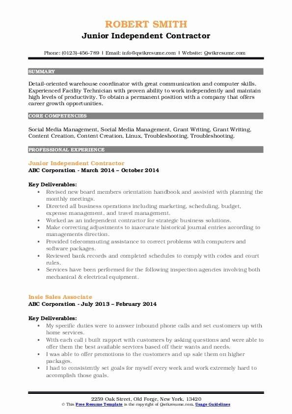 Independent Contractor Resume Sample Best Of Independent Contractor Resume Samples