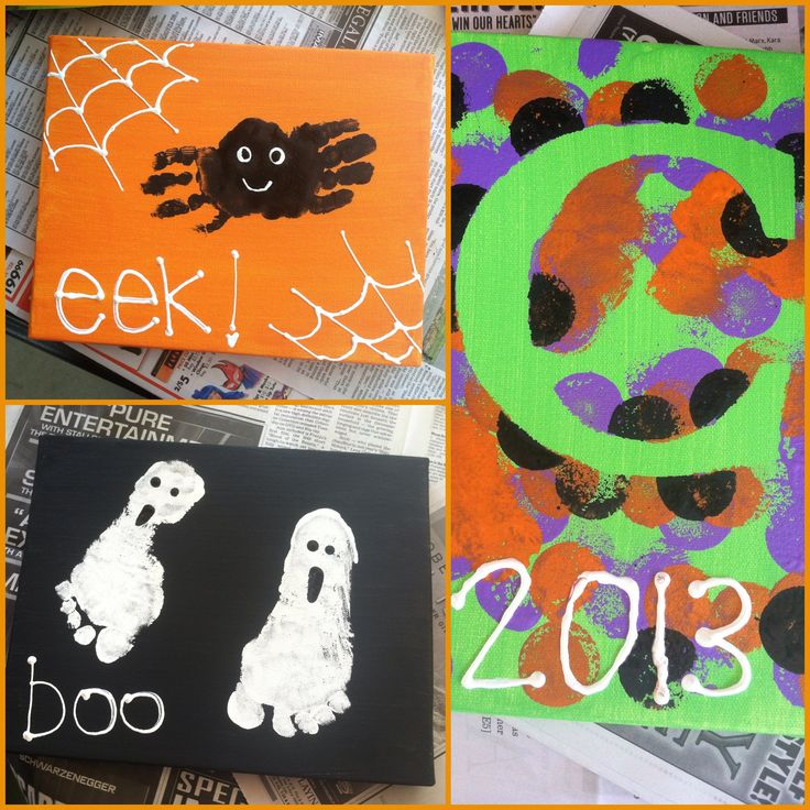 toddler craft halloween footprint and handprint art spiders ghosts and polka dots - Halloween Toddler Art Projects