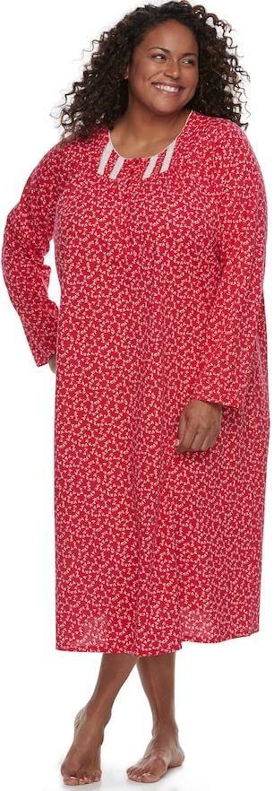 Croft & Barrow Plus Size Pajamas: Pintuck Long Sleeve Nightgown