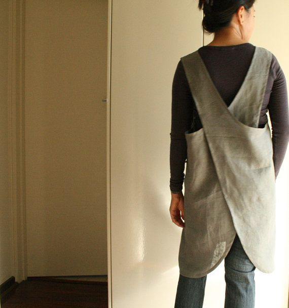 Linen Apron Full Pinafore Dress Cross Back By