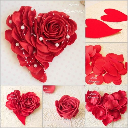 Heart Shaped Rose Wall Decor, felt or paper roses #Crafts,