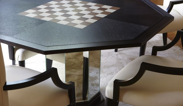 Black lacquer games table.