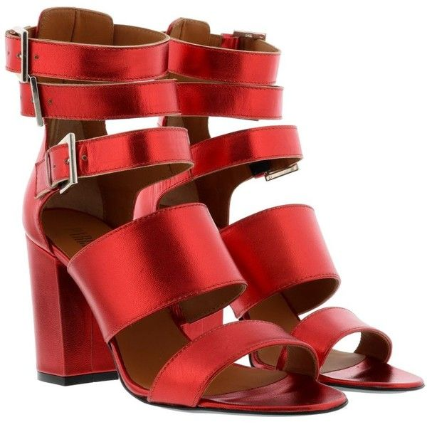 Pump Sandals ($221) ❤ liked on Polyvore featuring shoes, sandals, red, womenshoeshigh-heeled shoes, strap high heel shoes, red strap shoes, red strappy shoes, strappy high heel sandals and red strappy sandals
