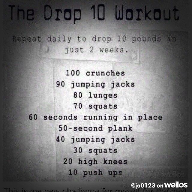 Decided to start today this Drop 10 workout for the next 2 weeks!! To this I add drinking at least 8 cups of water per day!! 14 days ladies, who's with me? #weilos