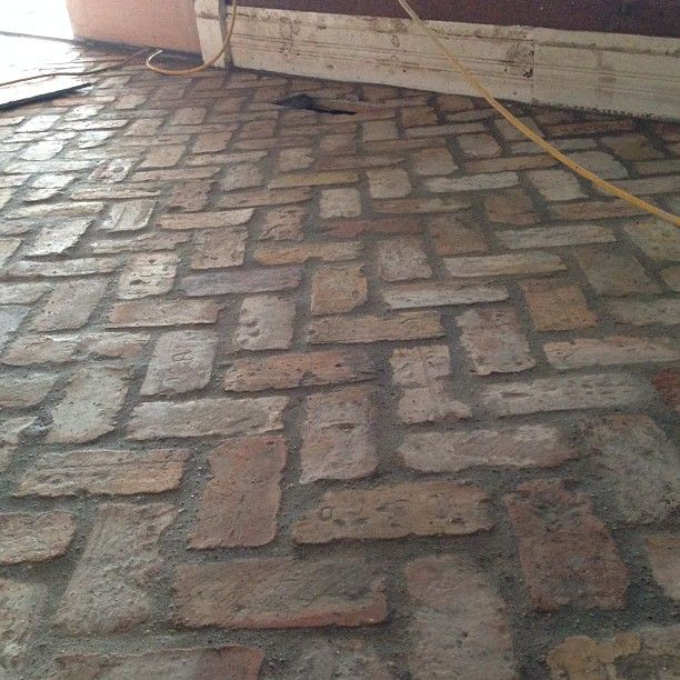 Farmhouse Brick Flooring Tile : Antique brick pavers installed a week early illtakeit