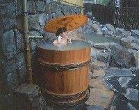 Outdoor Hot Spring Barrel Bath at Kamikochi Onsen Hotel