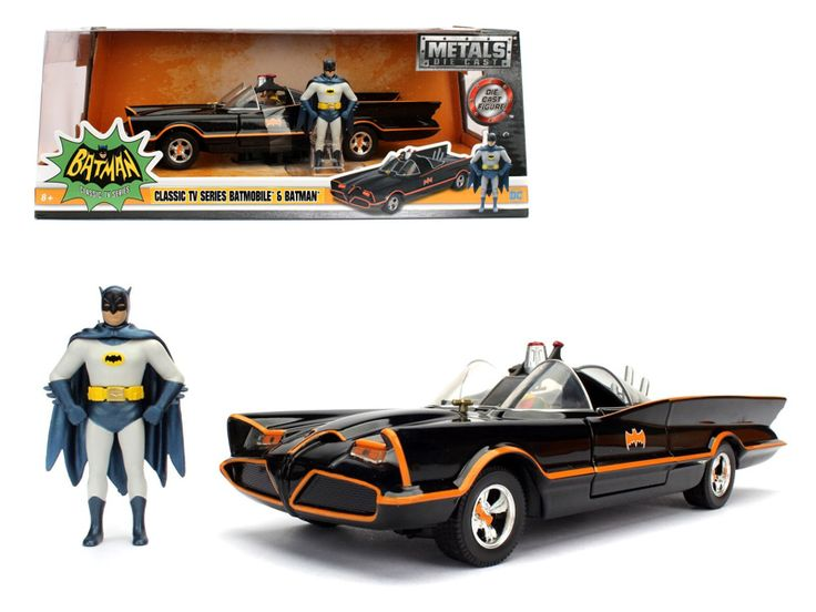 1966 Classic TV Series Batmobile with Diecast Batman and Plastic Robin in the car 1/24 Diecast Model Car by Jada - Brand new 1:24 scale diecast model car of 1966 Classic TV Series (1966 ) Batmobile with Diecast Batman and Plastic Robin Sitting Inside The Car die cast car model by Jada. Rubber tires. Brand new box. Car includes 2 figures. Batman made of diecast metal. Robin made of plastic. Detailed interior, exterior. Has opening doors. Made of diecast with some plastic parts. Dimensions…