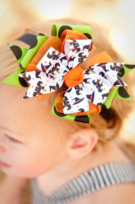 Halloween Witch Baby Headband Halloween bow Infant by KinleyKate, $13.50