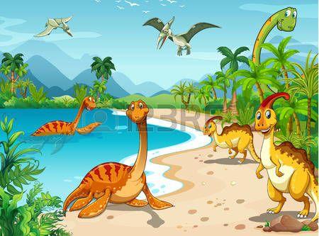 Dinosaurussen levend op het strand illustratie