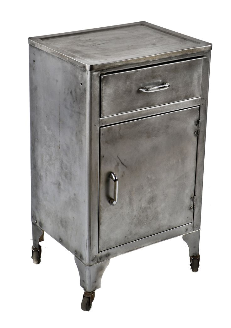 Late 1930u0027s Antique American Medical Mobile Heavy Gauge Pressed And Folded  Steel Hospital Supply Cabinet With