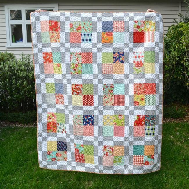 Scrappy Modern Squares Quilt. Modern scrappy quilt patterns from Craftsy.com. sponsored post.