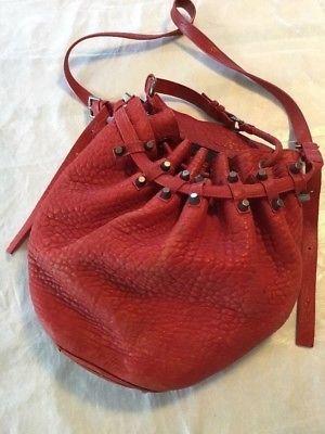 c8b26e89d5a0 ALEXANDER WANG DIEGO BUCKET Pebbled Sheep Skin Leather RED Stud Shoulder Bag