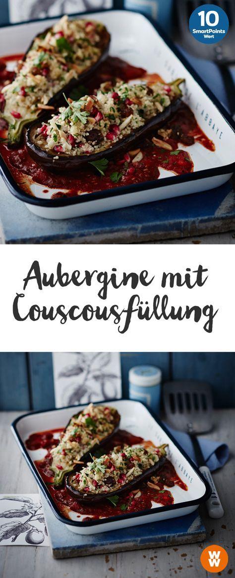 Aubergine mit Couscousfüllung | 10 SmartPoints/Portion, Weight Watchers, fertig in 45 min.