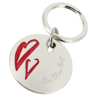 Cadeau malin: Porte-clés rond deux coeurs