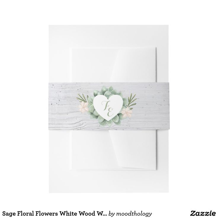 Sage Floral Flowers White Wood Wedding Belly Band