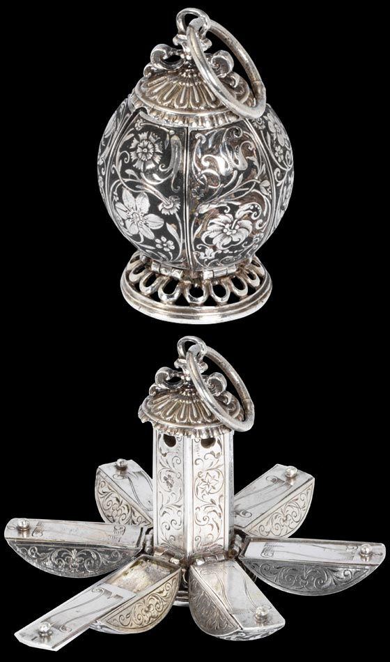 Pomander, Unknown maker, 1600 - 1650, Europe. Silver, enamelled and with an engraved design filled with mastic. Victoria and Albert Museum, London