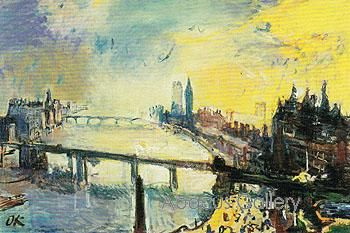 oskar kokoschka landscapes | ... of London View of the Thames in the Evening 1926 by Oskar Kokoschka
