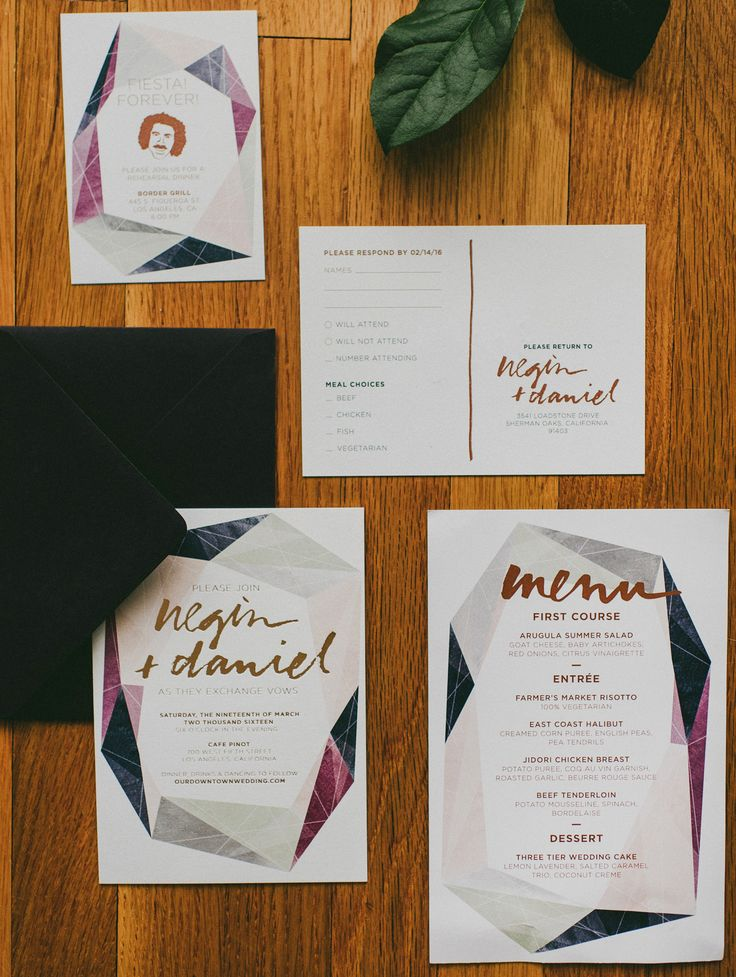 how to mail scroll wedding invitations%0A Modern Gemstone Copper Foil Wedding Invitations